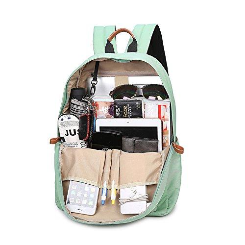 VLike Rücksack Rucksäcke Rucksack Backpack Daypack Schulranzen Schulrucksack Wanderrucksack Schultasche Rucksack für Schülerin Mädchen (Hell Grün) - 3