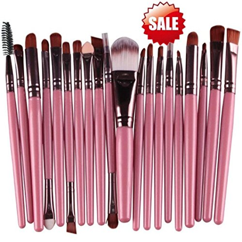 ADESHOP 15 Pcs Ensembles Ombre à PaupièRes Fondation Sourcils Brosse à LèVres Pinceau De Maquillage Outil Makeup Brushes Set (Rose)