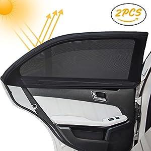 Kinder Auto-Sonnenschutz(2 Stück), Infreecs Auto Sonnenschutz   Selbsthaftende Sonnenblenden für Seitenfenster, blockt mehr als 97% der schädlichen UV-Strahlung, Baby Autosonnenschutz passt universell