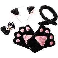 SODIAL(R)Negro Rosado Juego de cosplay de gato Guantes de garra pata Clip