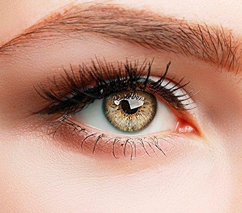ELFENWALD farbige Kontaktlinsen, gelbbraun hellbraun HELLBRAUN / OCKER, natürlicher Look, maximaler Tragekomfort, ohne Stärke, 1 Paar weiche Farblinsen, inkl. Behälter und Anleitung, 3 - Monatslinsen,