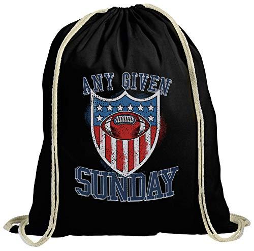 ShirtStreet American Football Gruppen Fan natur Turnbeutel Rucksack Gymsac Any Given Sunday 3, Größe: onesize,schwarz natur