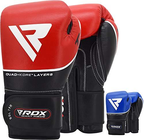 RDX Boxhandschuhe Sparring Rindsleder Training Kickboxhandschuhe Muay thai Sandsackhandschuhe, rot , Gr. 16oz