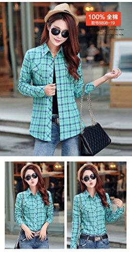 Smile YKK Chemisier Automne Femme Blouse Coton Velours Motif Carreaux Veste Hiver Chaud Vert