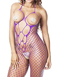 Chinatera Women's Halter Fishnet Lingerie Crotchless Bodystocking Open Cup Nighties One