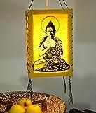 Guru-Shop Lokta Papier Hänge-Lampenschirm, Deckenleuchte aus Handgeschöpftem Papier - Buddha Gelb, 28x18x18 cm, Papierlampenschirme Quadratisch