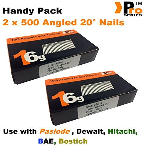 (2x 500) 1000Nail-16G abgewinkelt 20°-für Dewalt, PASLODE, Hitachi