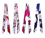 Fsmiling 4 Stück Mode Tasche Twilly Handtaschengriff Band Schal Paketband Haar Kopf (Twilly Schal)
