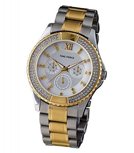 TIME FORCE TF4169L19M - Reloj Analógico Para Mujer, color Blanco/Plata