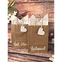 BROWN WEDDING FAVOUR GIFT BAG WITH HEART TAG & TISSUE PAPER