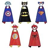 Sinoem Costumi da Supereroi per Bambini-5 Mantelli e 5 Maschere- Regali di compleanno - Costumi Carnevale Mantelli e Maschere Giocattoli per Bambini e Bambine