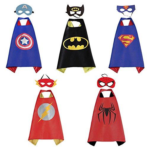 ostüme für Kinder Set 5 Umhänge + 5 Masken, Comics Cartoon Heroes Verkleiden Sich Kostüme für Mädchen Jungen - Kapitän Amerika/Superman / Spiderman / Batman / Flash (Superman Kostüm Muster)