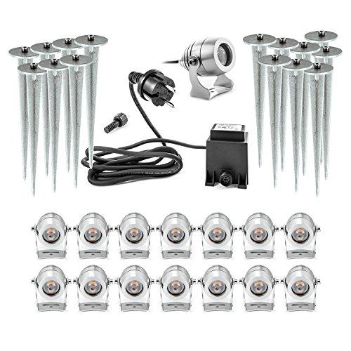 Mega Set 15 LED Gartenstrahler mit sicherem 12V Niedervolt System 12 Volt mit Kabel Stecker Erdspieß Premium Set aus Aluminium CNC gefräst warmweiss - Leuchte Mit Niedervolt-beleuchtung