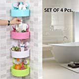 Getko 4 Pc Triangle Shower Corner Caddy Basket Plastic Inter design Bathroom Kitchen Storage Organize Shelf Rack with Wall Mounted Suction Cup.
