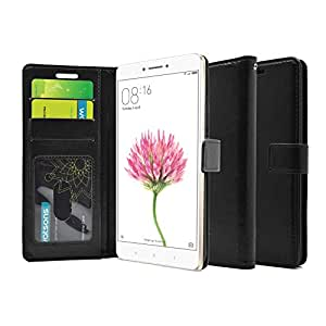 FOSO(™) Xiaomi Mi Max High Quality PU Leather Magnetic Flip Cover Wallet Case(Black)