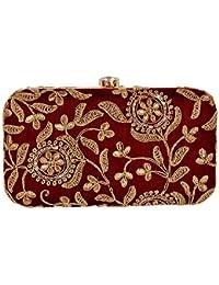 Tooba Women's Golden Zari Box Clutch …