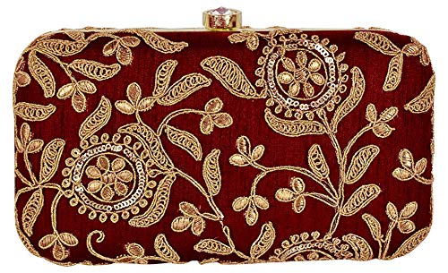 Tooba Women's Dark Red Silk Handicraft Clutch