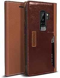 Funda Galaxy S9 PLUS, OBLIQ [K3 WALLET], Tapa con Cuatro Ranuras para Tarjetas de crédito y ID Funda elegante para billetera hecha con cuero italiano superior con protección anticaídas y almohadillas amortiguadoras para el Samsung Galaxy S9 PLUS (2018) (Brown/Burgundy)