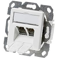 Telegärtner Datenanschlussdose Cat6A 2-Fach 2xRJ45 J00020A0500 AMJ45 8/8 UP/50 alpinweiß, Weiß