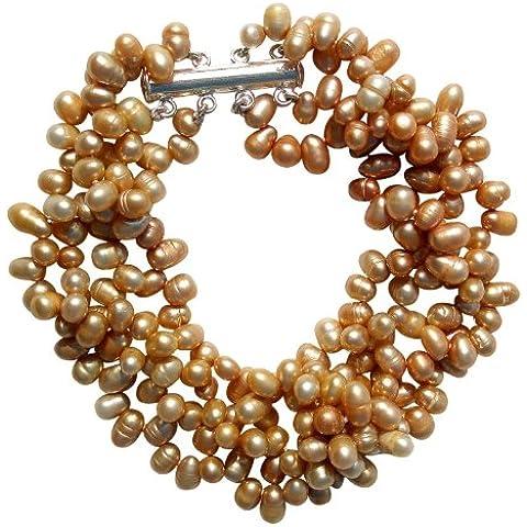 Bracciale a quattro fili con perle a forma di riso dorato coltivate d'acqua dolce con fermaglio in argento, confezionato in un'elegante pochette satinata provvista di biglietto