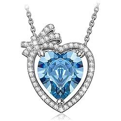 """NINASUN """"Enamorado"""" Plata Rosa Azul Cristales de SWAROVSKI® Oro de Rose Plateado Collar Mujer"""