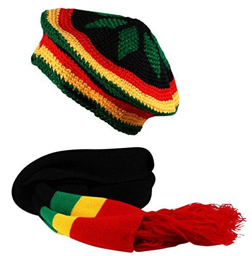 Rasta 2 In1 Scarf And Crochet Knit Tam Beret Hat Reggae Bob Marley