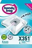 Handy Bag - X351 - 4 Sacs Aspirateurs, pour Aspirateurs Bluesky, Hoover et Severin, Fermeture Hermétique, Filtre Anti-Allergène, Filtre Moteur
