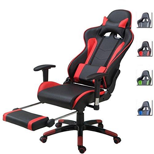 Ergonomische Schreibtisch-stühle (Delman Racing Bürostuhl Gaming Chair Schreibtischstuhl Drehstuhl Sportsitz Ergonomischer PU Leder Höhenverstellbar mit Armlehnen mit Fußablage Fußstütze 02-1004 (Schwarz-RD-FR))