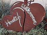 Edelrost Tafel doppeltes Herz 38x30cm Herzlich Willkommen Geschenk Wandschild