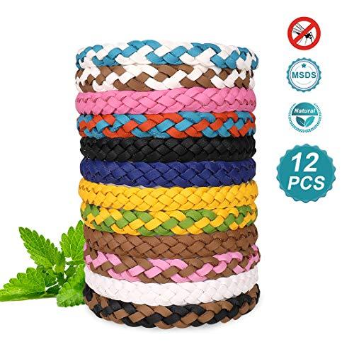 DEKINMAX Mückenschutz Armband, 12PCS Anti Mücken Armband Geflochtenes Lederarmband Naturöl Sicher DEET-frei und wasserdicht Insektenschutzmittel für Kinder, Erwachsene (Color 1)