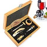 Yobansa®, cavatappi 3 in 1 per camerieri; 5 accessori da vino: cavatappi, tappo salvagocce, tappo versatore, anello e termometro; in cofanetto di legno Bamboo Box 5 Pcs