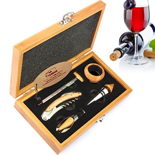 yobansa 3in 1Kellner-Korkenzieher, 5Stück Wein Zubehör Set, Flaschenöffner, Wein Stopper, Wein Ausgießer, Wein Ring und Thermometer-Set in Holzbox Bamboo Box 5 pcs