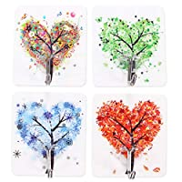Sucker Hook Nail Free Reusable Wall Hooks For Towel Loofah Bathrobe Clothes No Scratch Bathroom Kitchen Wall Hook 4Pcs Random Color(Heart-Shaped Trees)
