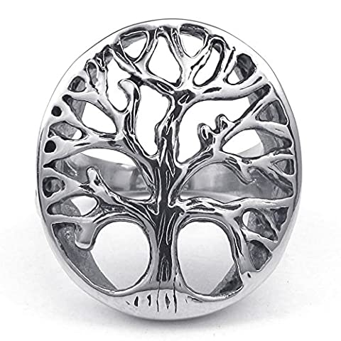 Konov Jewellery Mens Stainless Steel Ring, Tree of Life, Color Silver, Size R (with Gift Bag)