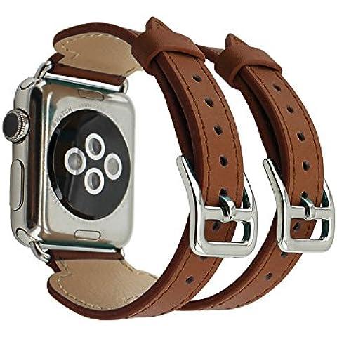 Apple Watch Band pinhen doppio polsino fibbia Apple Watch Cinturino in pelle iwatch cinturino in vera pelle cinturino con adattatore per Apple Watch, serie 2