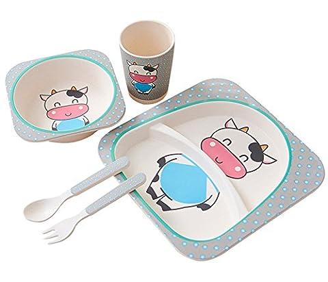 Berry Président (TM) respectueux de l'environnement en bambou de table Service de table | Ensemble de repas Assiettes | | | plats | alimentaire Set pour nourrir les tout-petits enfants garçons filles, 5pièces