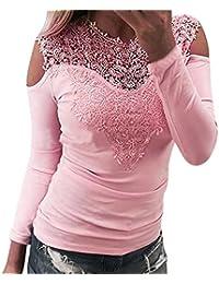 4e85199a45cf5 ESAILQ Femme T-Shirt Casual Sexy Transparent Manches Longues Dentelle O  Neck Blouse Tops Slim