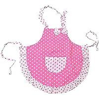 Kids delantal, delantal de cocina las niñas con rosa lazo para hornear cocinar pintura parte con gamuza de 2capas