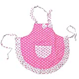 #6: Kids Apron, Girls Kitchen Apron with Pink Bowknot For Baking Cook Painting Party with 2 Layers Cloth()