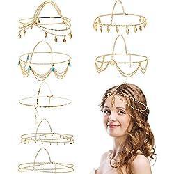 WILLBOND 8 Pièces Bijoux de Chaîne de Tête d'or Chaîne de Tête de Bandeau Boho Bande de Cheveux de Chaîne de Gland de Perles de Pièces Bandeau de Mariage Festival Prom pour Femmes et Filles (Style A)