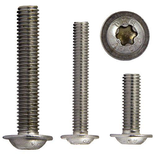 OPIOL QUALITY | Linsenkopfschrauben mit Flansch, Innensechsrund (ISR) M3x6 (10 Stück) ISO 7380 | TORX | Flachkopfschrauben | rostfrei | Linsenkopf