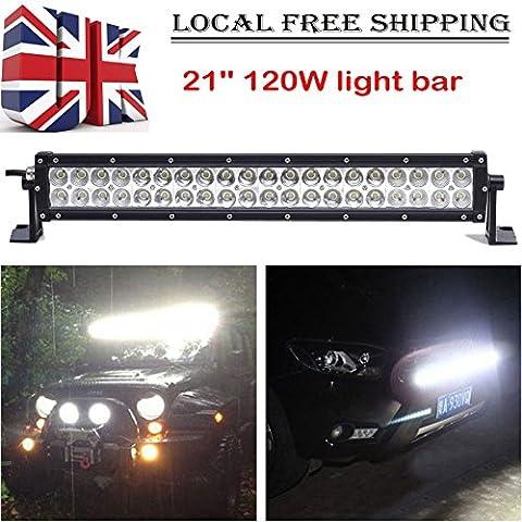 120W 53,3cm 12V 24V 40LED Light Bar Spot Flood Combo Arbeit Lampe 6000K Super Hell für LKW/Vans/Cars/SUV/Offroad/Jeep