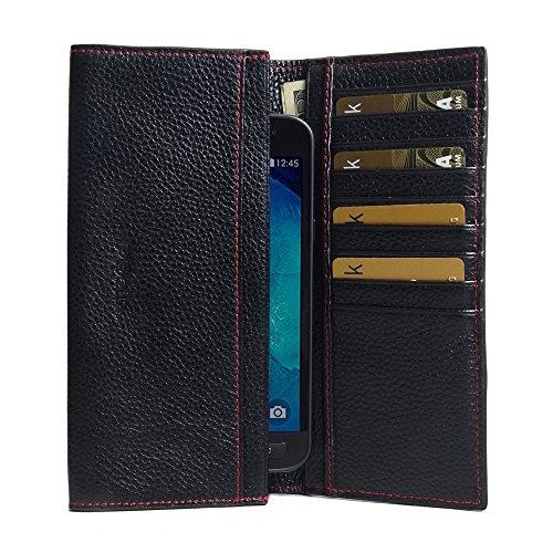 PDAir Galaxy Xcover 4 Leder Brieftasche Folio Handy Hülle (Schwarzes Kieselleder/roter Stich), Echtleder Brieftasche Telefon Hülle, Continental Brieftasche für Galaxy Xcover 4 - Speck Handy Brieftasche