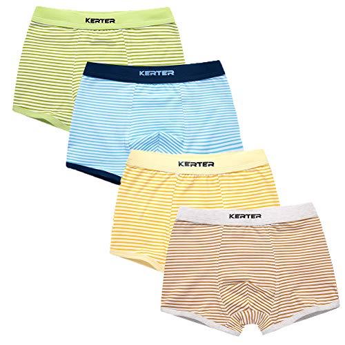 Z-Chen 4er Pack Kinder Jungen Boxershorts Unterhosen, Streifen, Gr. 98-104