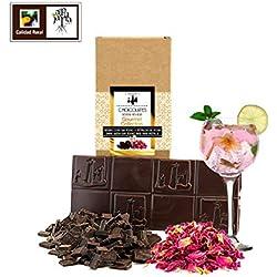 Chocolate negro artesano con Gin Tonic y pétalos de rosa