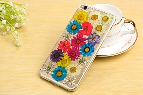 PowerQ Bunte Echt Blumen Probe Exemplar Serie Tasche TPU Hülle Etui Fall Case Cover < 3 pink flowers | für IPhone 6 6S IPhone6S IPhone6 >          Colorful Real Flower Specimen mit Staubstecker weiche Silikon Colorful sunflower