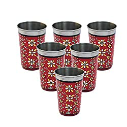 eCraftIndia Set of 6 Handpainted Decorative Steel Glass - 105 Red Color