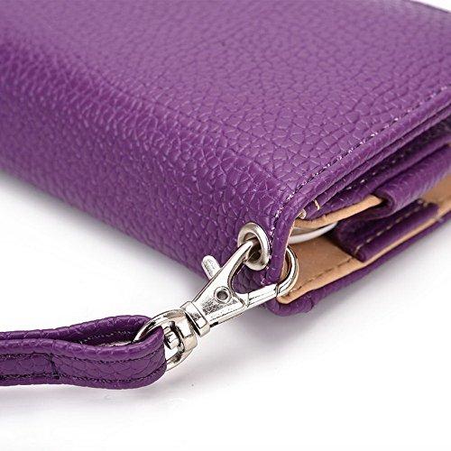 Kroo Pochette Téléphone universel Femme Portefeuille en cuir PU avec dragonne compatible avec Sony Xperia M2dual/M4Aqua Double Multicolore - Blue and Red Violet - violet