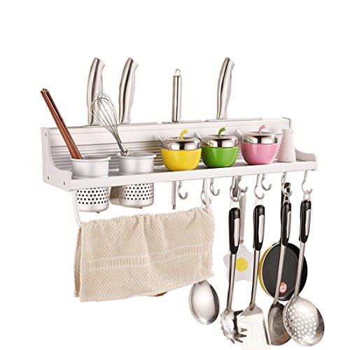 Fecihor Support Mural Avec Crochets pour Ustensiles de Cuisine, Multifonctions Étagère de Rangement Porte-serviettes, Bloc couteau, Porte-cuillère (60cm 6 Crochets)