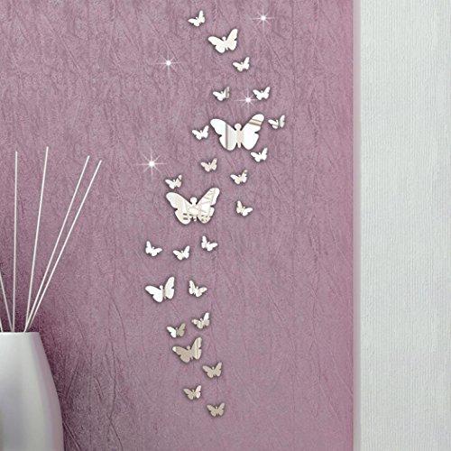 Longra Wandaufkleber 30 PCS Schmetterling Kombination 3D Spiegel Wand Aufkleber Home Dekoration DIY Wandtattoo Wandsticker (SILVER)